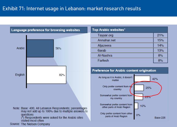 Internet usage in Lebanon