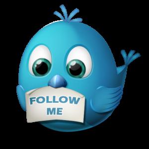 Twitter bird holding 'Follow me' sign